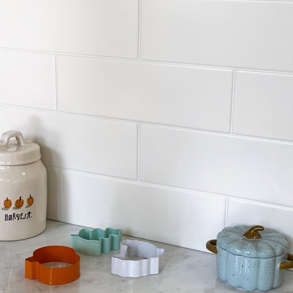 Classic Matte White Subway Tile Wall for a Kitchen Backsplash