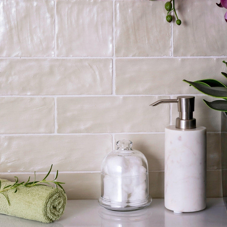 "Mallorca Green Tile in 2.5"" x 8"" Subway Design for a Serene and Organic Bathroom Wall"
