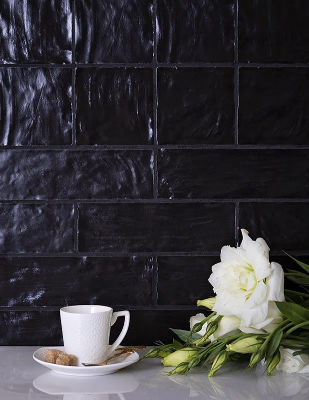 Mallorca Black Ceramic Zellige Tiles for a Dramatic Wall Covering