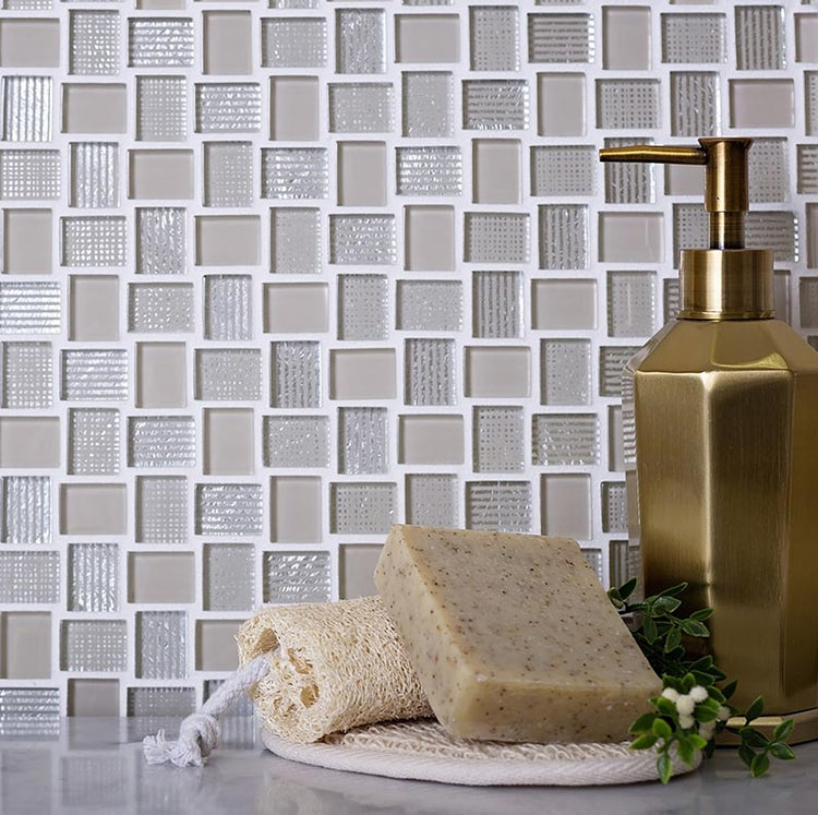 Beige glass mosaic tiles