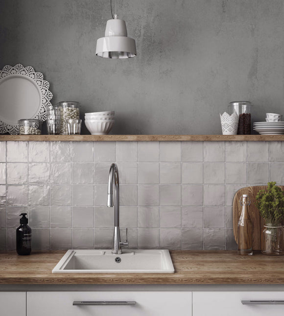 French Country Kitchen Style with Mallorca Grey Ceramic Tile