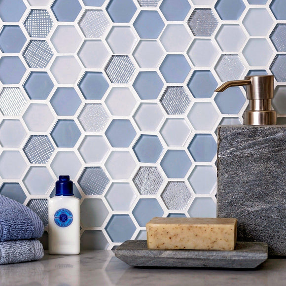 Moongrey Hexagon Glass Mosaic Tile