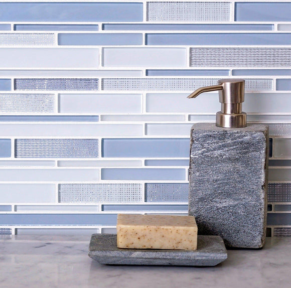 Moongrey Linear Glass Mosaic Tile
