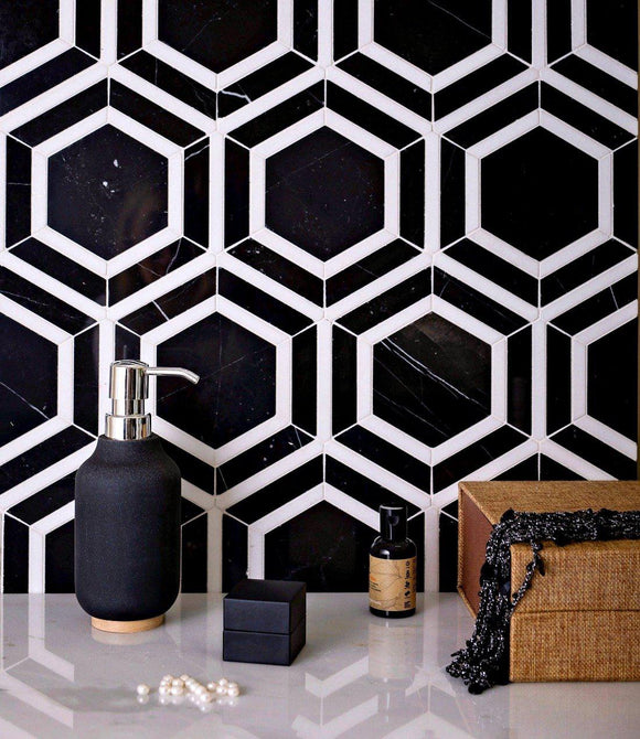 black and white hexagon tile