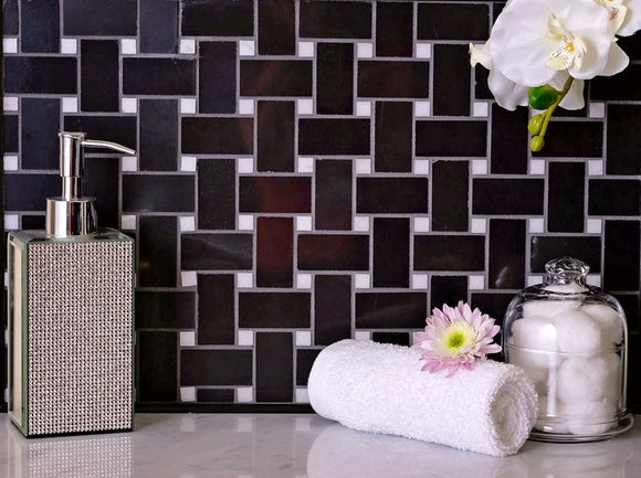 Nero Marquina Basket Weave With White Dot Marble Mosaic Tile Position: 1