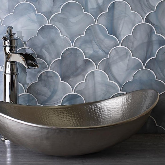 Ocean Glass Cloud Blue Mosaic Tile