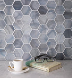 Modern Hexagon Blue Glass Mosaic Tile