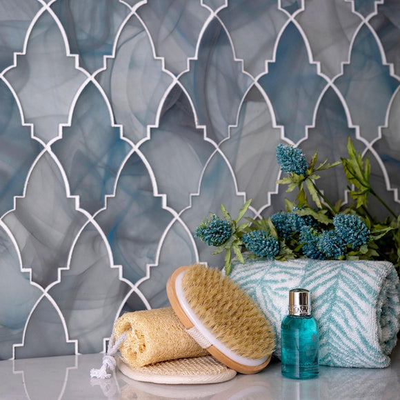 Ocean Glass Louvre Blue Mosaic Tile