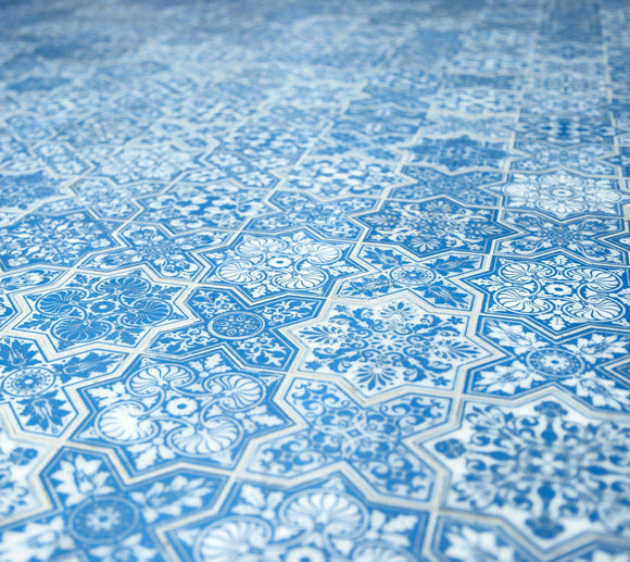 Moroccan Star & Cross Blue Etched Marble Mosaic Tile