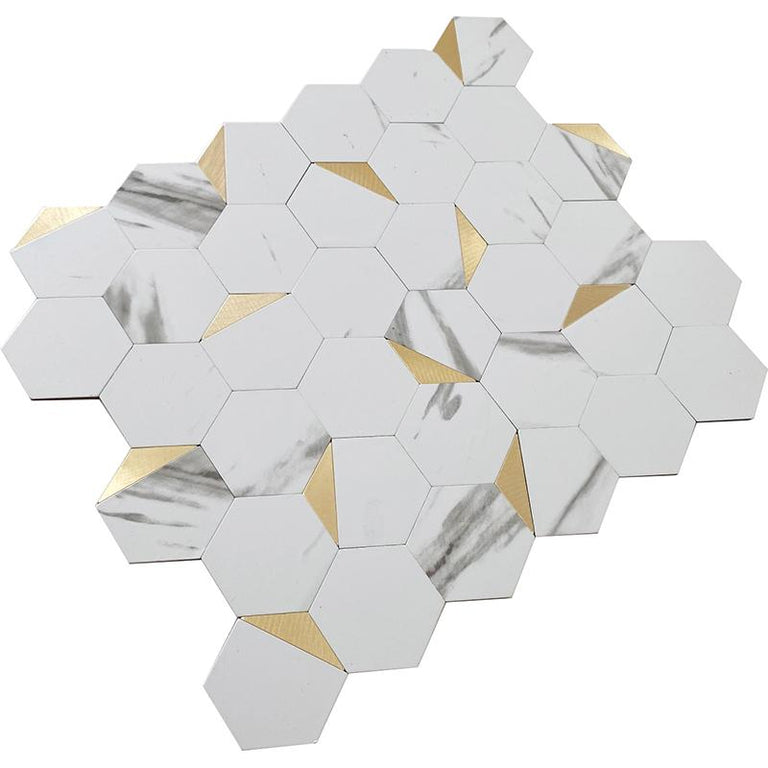 White and Gold Hexagon Vinyl Peel and Stick Tile