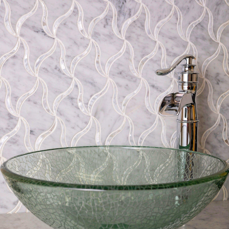 Pearl Ribbon White Marble & Mother Of Pearl Waterjet Mosaic Tile