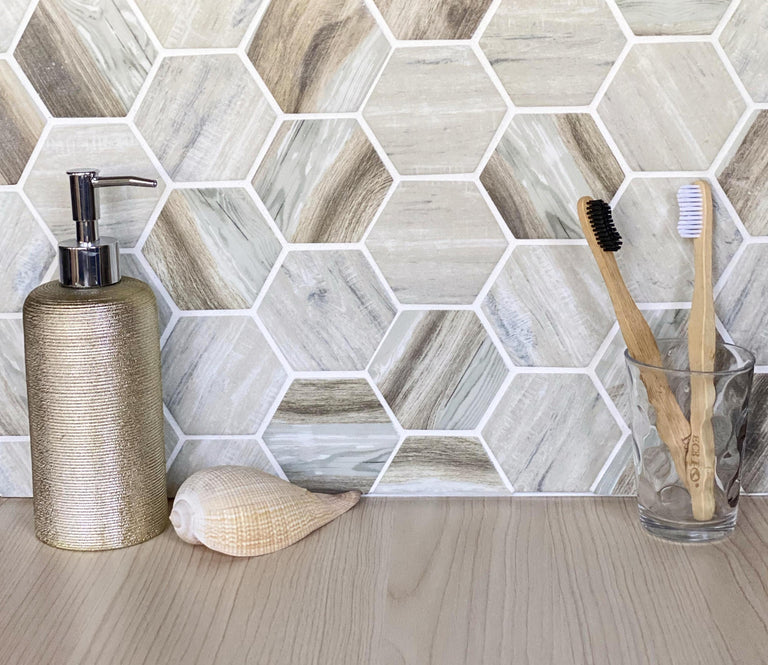 "2"" Recycled Glass Hexagon Mosaic In Wood Color"