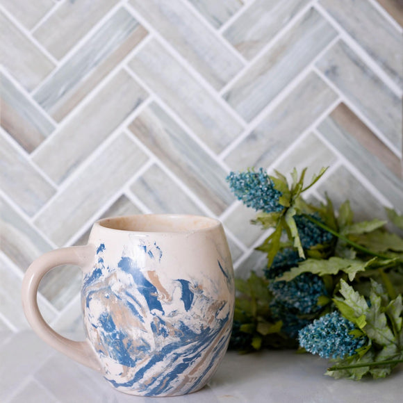 Recycled Glass Herringbone Mosaic Tile In Wood Color