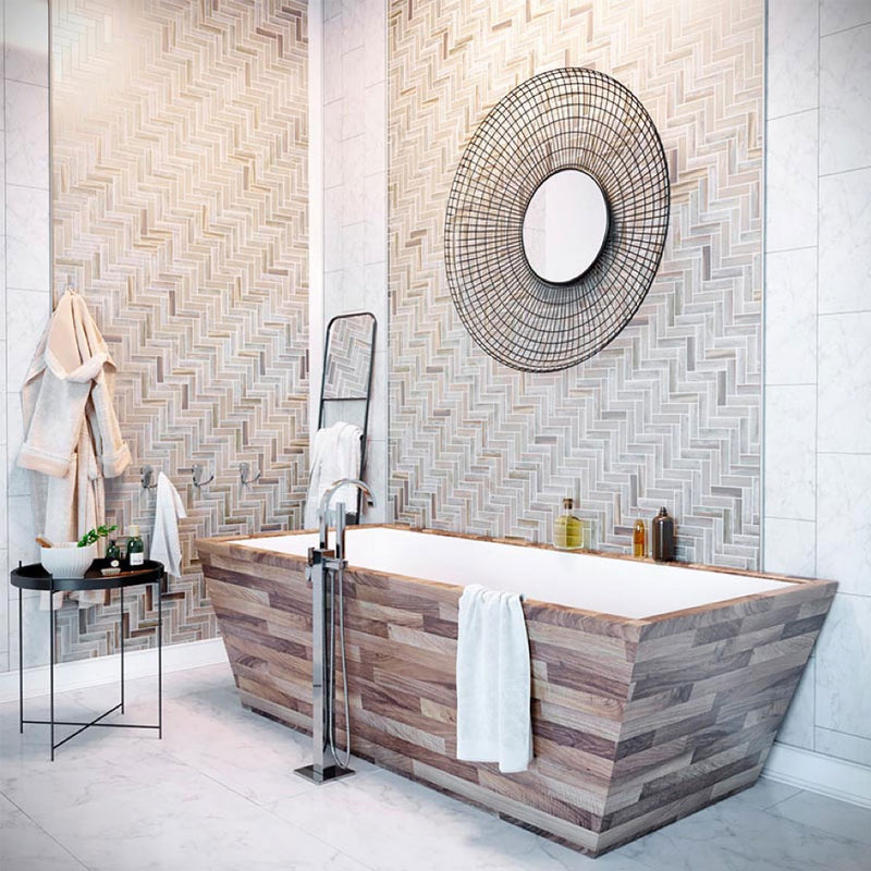 Eco-Friendly Home Design with Recycled Glass TilesRecycled Glass Herringbone Mosaic In Wood Color for a Patterned Bathroom Backsplash