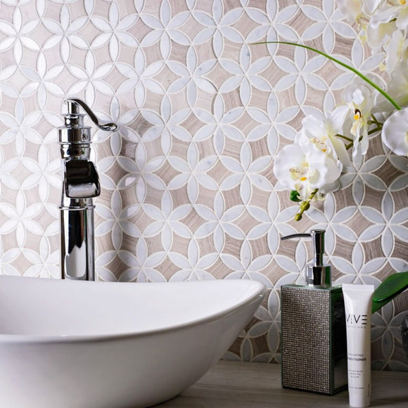 Roman Flower Wooden Beige And Carrara Marble Mosaic Tile