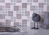 Square And Dot Wooden Beige & Glass Mosaic Tile