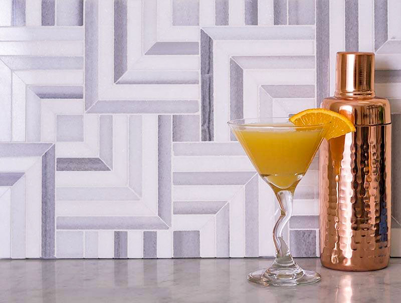 We could see our Square Weave Equator & Thassos Polished Mosaic Tile at an Outdoor Kitchen Backsplash!