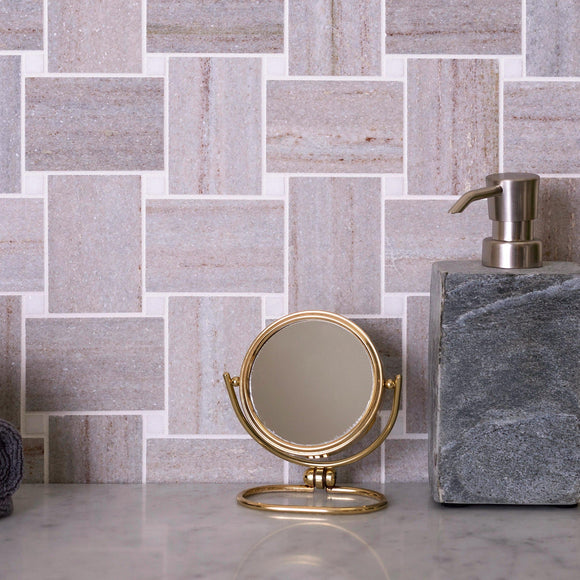Sand Valley And Thassos Large Basket Weave Mosaic Tile