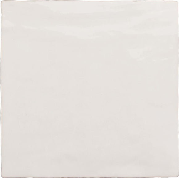 La Riviera Blanc White Ceramic Square Tile with a Zellige Look