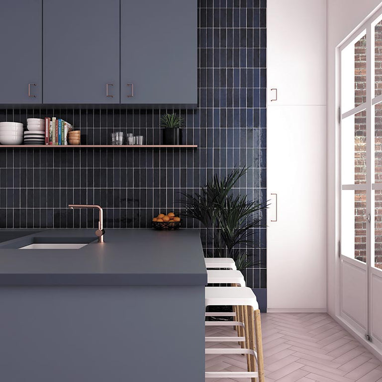 Vertical Subway Tile Layout with Zellige Blue Reef