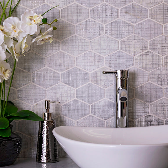 Silver Etched White Elongated Hexagon Mosaic Tile