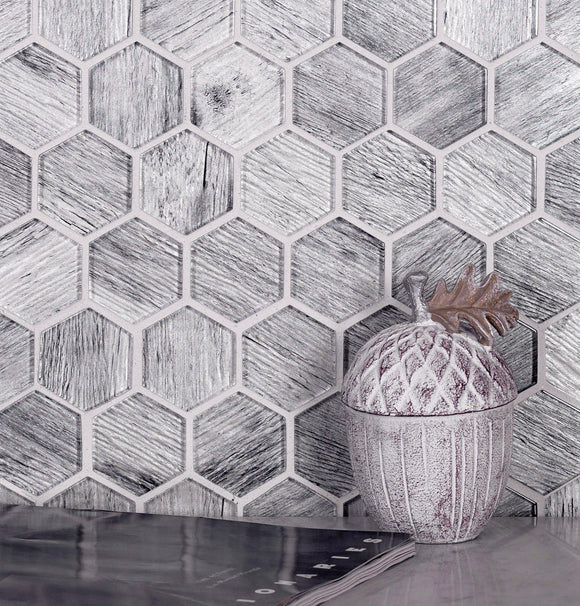 Silver Wooden Glass Hexagon Mosaic Tile