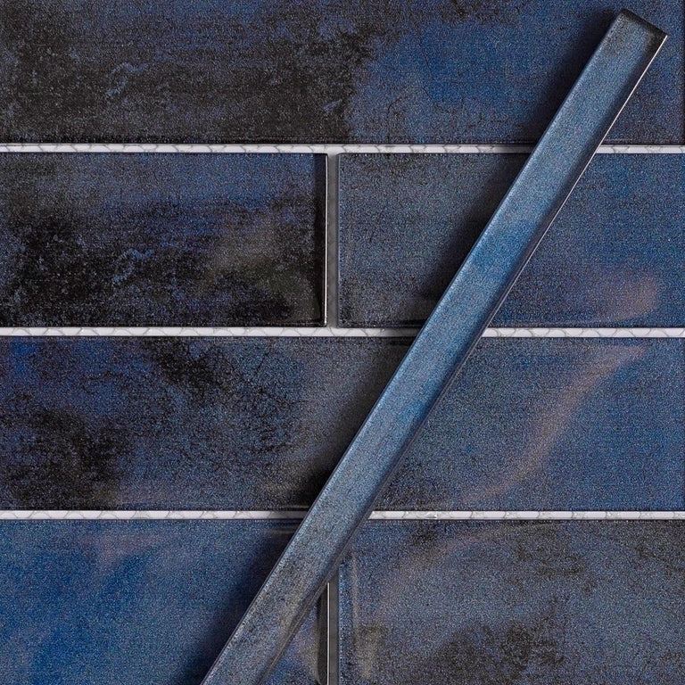 Stardust Blue Pencil Glass Molding and Tile Trim