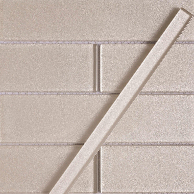 Stardust Sand Pencil Glass Molding and Tile Trim