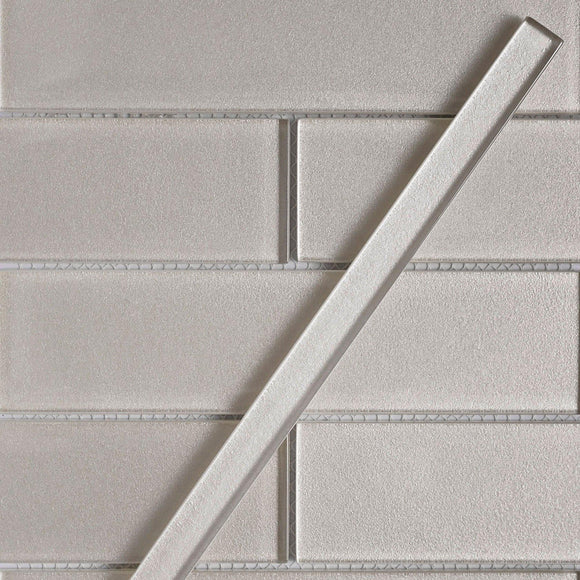Stardust White Pencil Glass Molding and Tile Trim