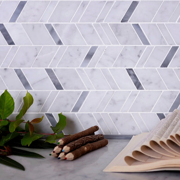 Striped Herringbone Carrara & Bardiglio Marble Mosaic Tile