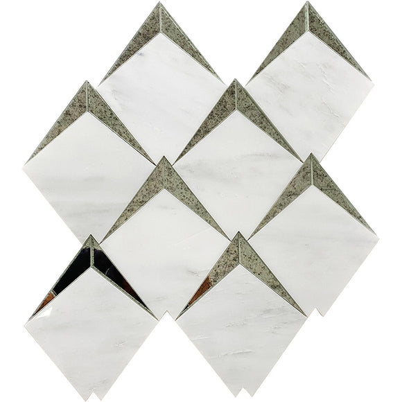 Arrowhead Antique Mirror Glass Marble Mosaic Tile
