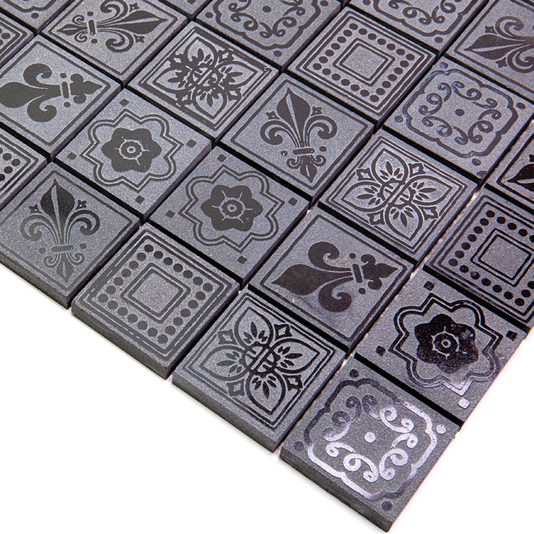 Black Etched Square Marble Mosaic Tile