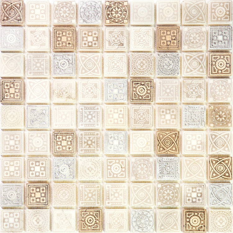 Ethnic Cream Etched Mosaic Tile