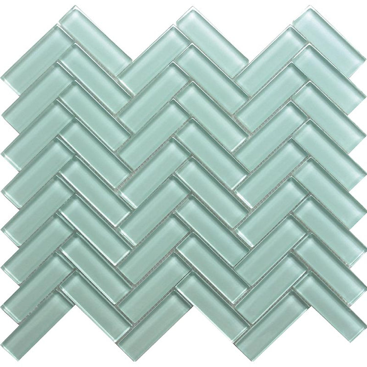 Aqua Herringbone Glass Tile