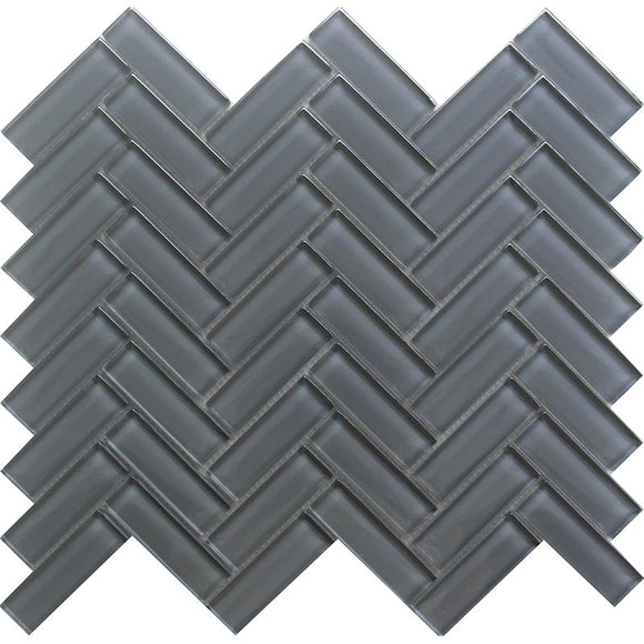 Cool Gray Herringbone Glass Tile