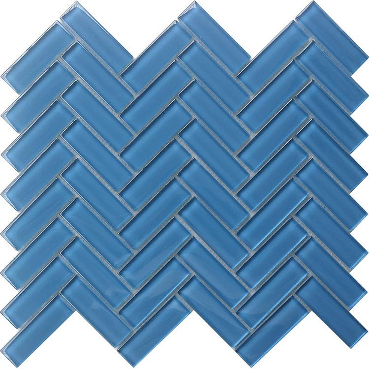 Sky Blue Herringbone Glass Tile