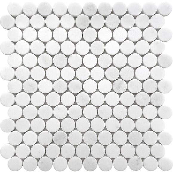 Thassos White Honed Penny Round Marble Mosaic Tile