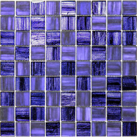 Purple Foil Glossy And Frosted Square Glass Mosaic Tile