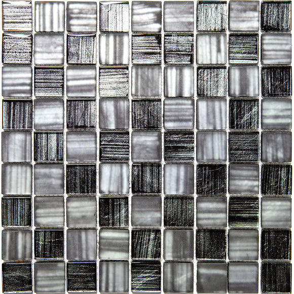 Ash Foil Glossy And Frosted Square Mosaic Tile
