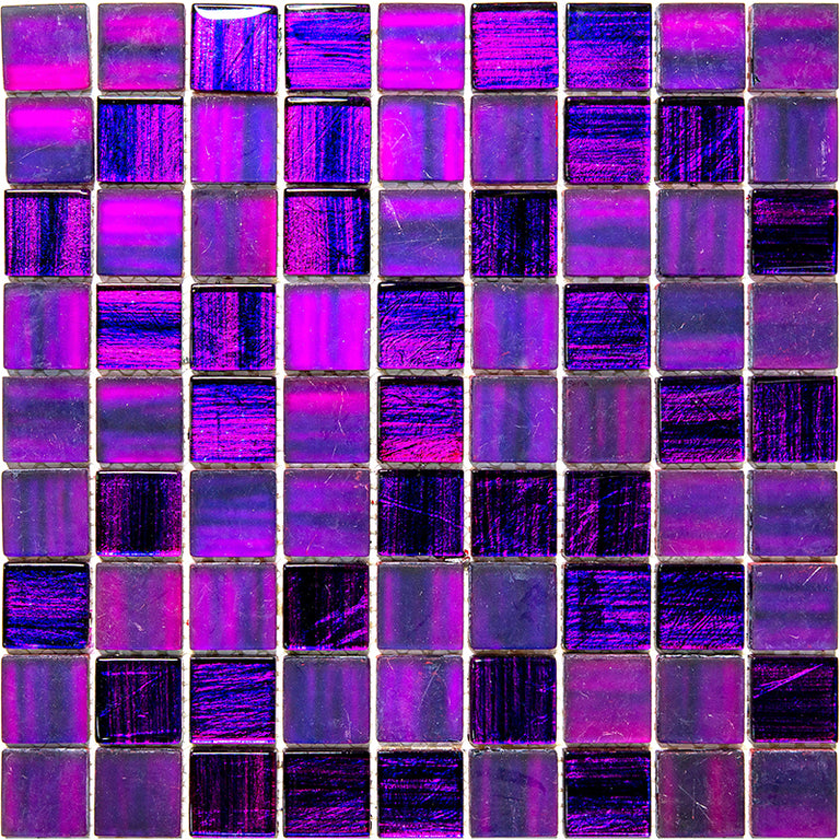 Plum Foil Glossy And Frosted Square Mosaic Tile