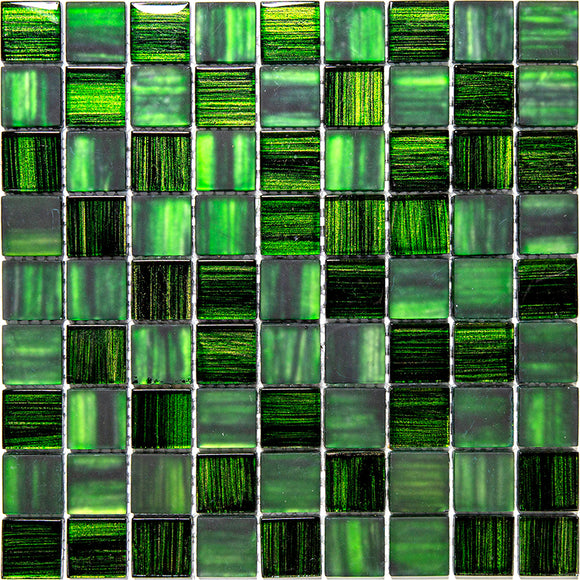 Emerald Green Foil Glossy And Frosted Square Mosaic Tile