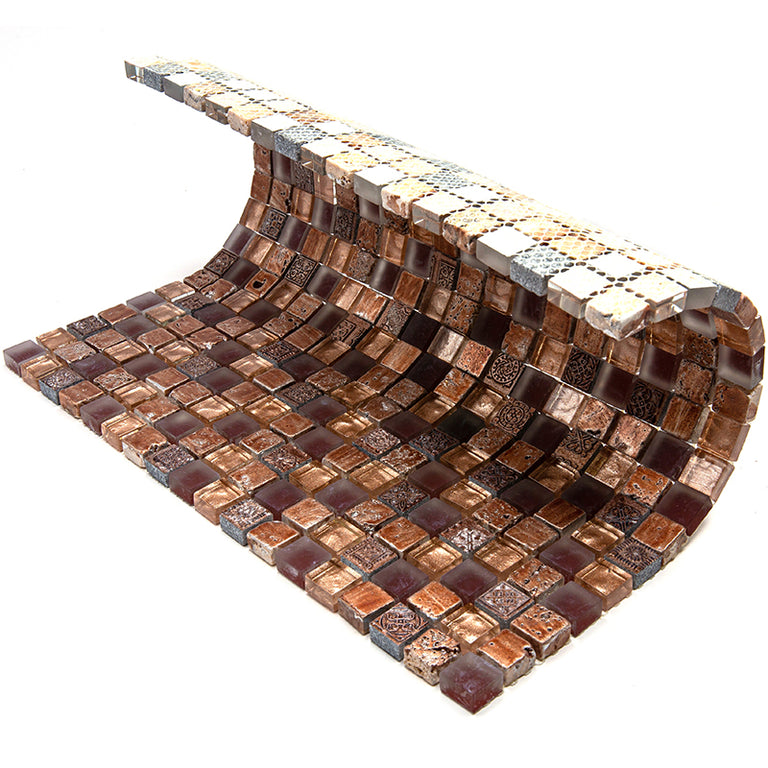 Eclectic Brown Micro Square Mosaic Tile