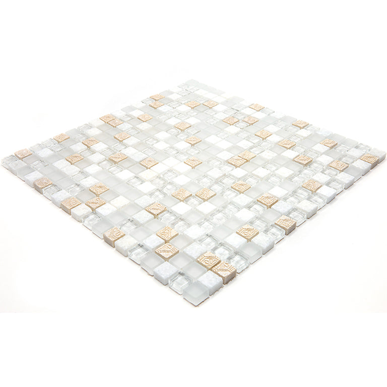 Eclectic White Micro Square Mosaic Tile