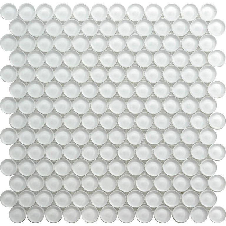 Frost White Glass Penny Round Tile