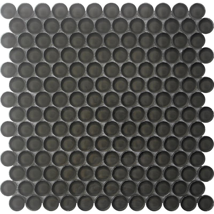 Dark Gray Penny Round Glass Tile