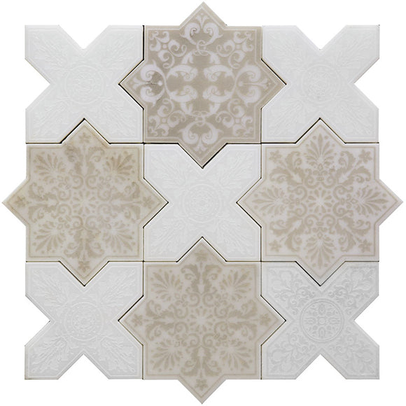 Moroccan Antique Star & White Cross Etched Marble Mosaic Tile