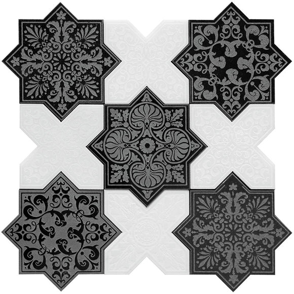 Moroccan Black Star & White Cross Etched Marble mosaic tile