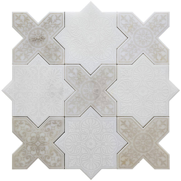 Moroccan White Star & Antique Cross Etched Marble Mosaic Tile