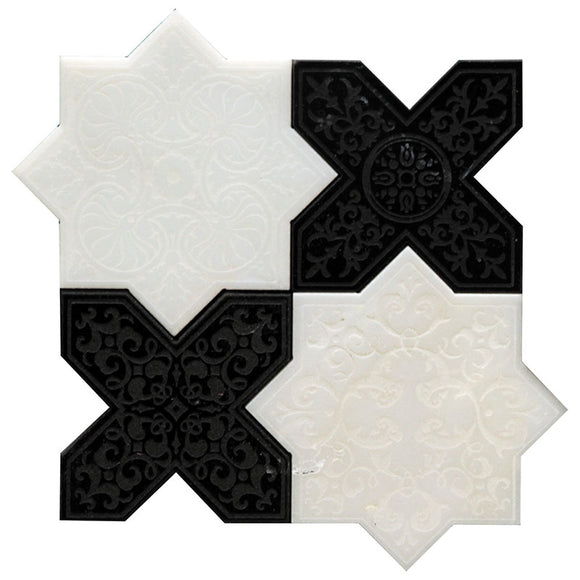 Moroccan White Star & Black Cross Etched Marble mosaic tile