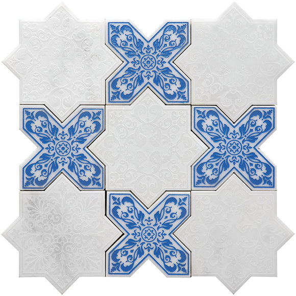 Moroccan White Star & Blue Cross Etched Marble mosaic tile